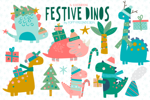 Print on Demand: Festive Dinos Clipart Set Graphic Illustrations By poppymoondesign