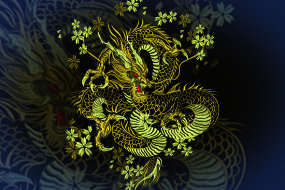 Print on Demand: Gold Dragon Animals Embroidery Design By Samsul Huda