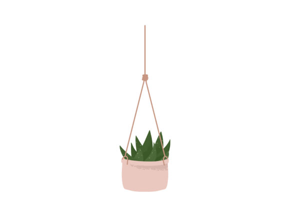 Print on Demand: House Plant Aloe Hanging Macrame Planter Graphic Illustrations By Musbila