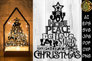 Print on Demand: Joy Hope Let It Snow Christmas Tree Graphic Illustrations By V-Design Creator