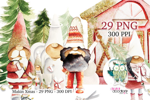 Print on Demand: Makin Xmas Watercolor Black Gnomes Graphic Illustrations By Digital Doodlers