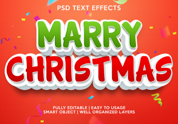 Marry Christmas Text Effect Graphic Graphic Templates By gilangkenter