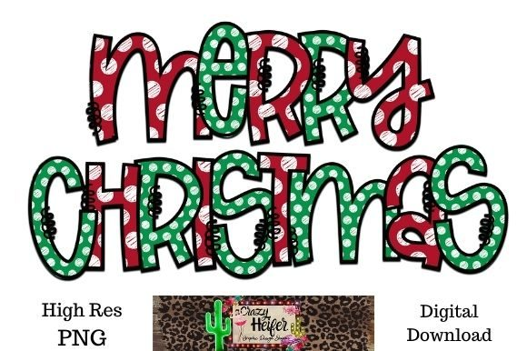 Print on Demand: Merry Christmas Polka Dot Hand Drawn Graphic Illustrations By Crazy Heifer Design Shoppe