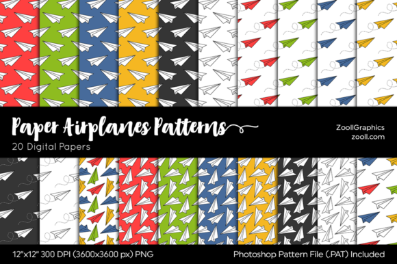 Paper Airplanes Papers Digital Graphic Patterns By ZoollGraphics