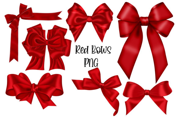 Red Bows Graphic Illustrations By PS Digital Memories
