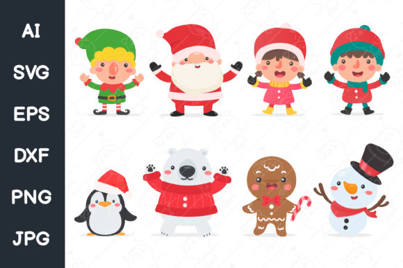 Print on Demand: Santa Elf Snowman and Kids Characters Graphic Illustrations By CRStocker