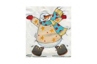 Sassy Fat Dancing Snowman Winter Embroidery Design By Sew Terific Designs