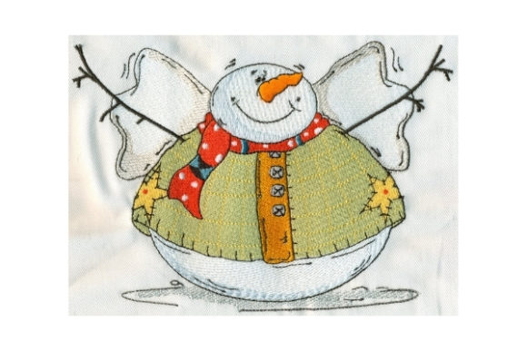 Sassy Fat Round Snowman Winter Embroidery Design By Sew Terific Designs