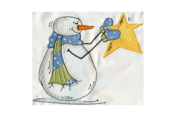 Sassy Holding Star Snowman Winter Embroidery Design By Sew Terific Designs