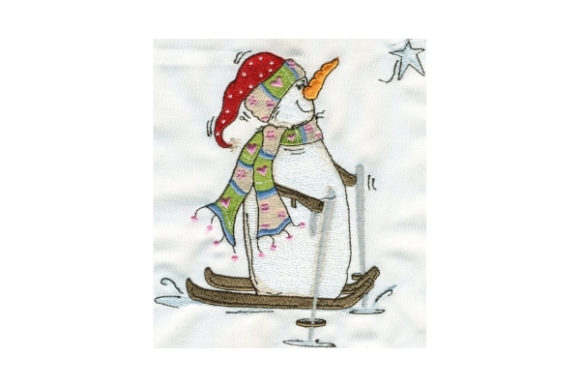 Sassy Star Watching Snowman Winter Embroidery Design By Sew Terific Designs