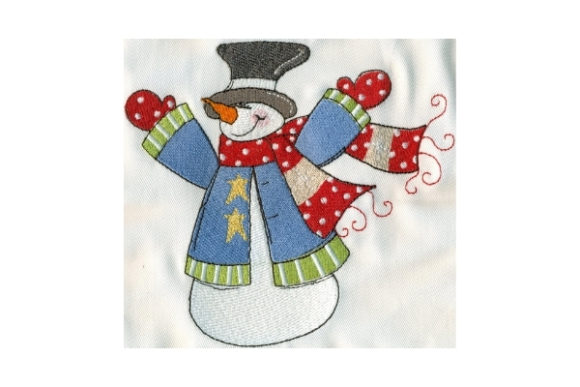Sassy Up in Arms Snowman Winter Embroidery Design By Sew Terific Designs