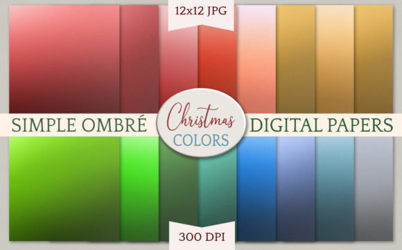 Print on Demand: Simple Ombre Digital Papers - Christmas Grafik Hintegründe von Digital Town