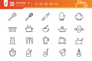 Simple Set of Kitchen Vector Icons Graphic Icons By ferart88