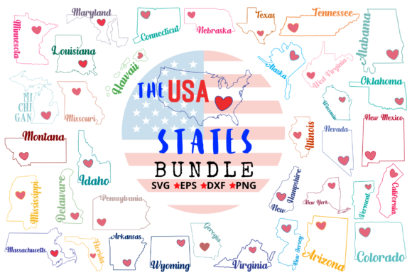 The U.S. States Bundle Graphic Crafts By Graphipedia