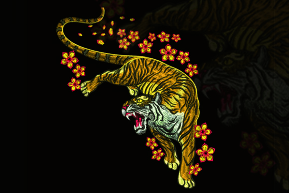 Print on Demand: Tiger Roar Wild Animals Embroidery Design By Samsul Huda