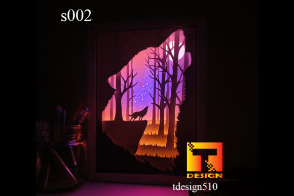 Wolf Paper Cut Light Box 3D Shadow Box Graphic 3D Shadow Box By Tdesign510