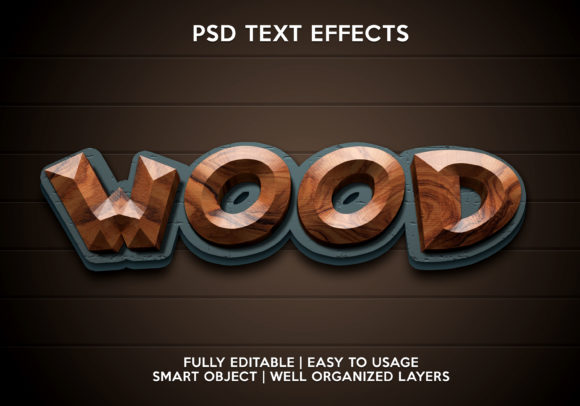 Wood Text Effect Graphic Graphic Templates By gilangkenter