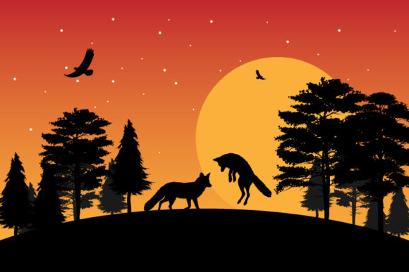 Print on Demand: Fox Silhouette Graphic Illustrations By curutdesign