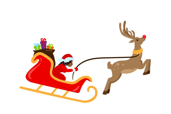 Santa Riding in Her Sleigh Christmas Craft Cut File By Creative Fabrica Crafts