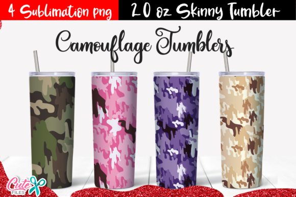 20 Oz Skinny Tumbler Camouflaje Template Graphic Print Templates By Cute files