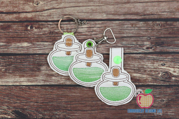 Alcohol Burner Keyfob Keychain ITH Wine & Drinks Embroidery Design By embroiderydesigns101