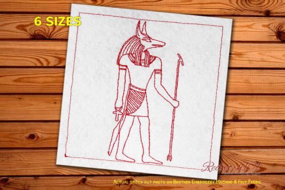 Ancient God of Egypt Redwork Africa Embroidery Design By Redwork101