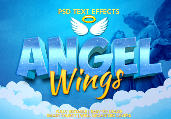 Angel Wings Text Effect Graphic Graphic Templates By gilangkenter