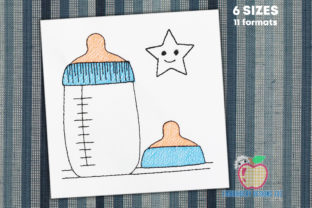 Baby Milk Bottle Sketch Babies & Kids Quotes Embroidery Design By embroiderydesigns101