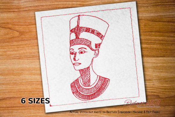 Beautiful Egyptian Queen Redwork Design Africa Embroidery Design By Redwork101