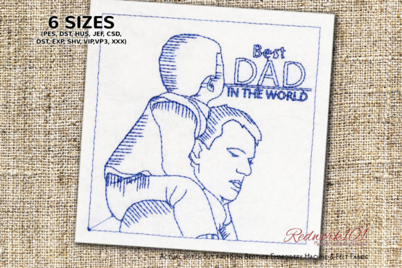 Best Dad in the World Redwork Design Father's Day Embroidery Design By Redwork101