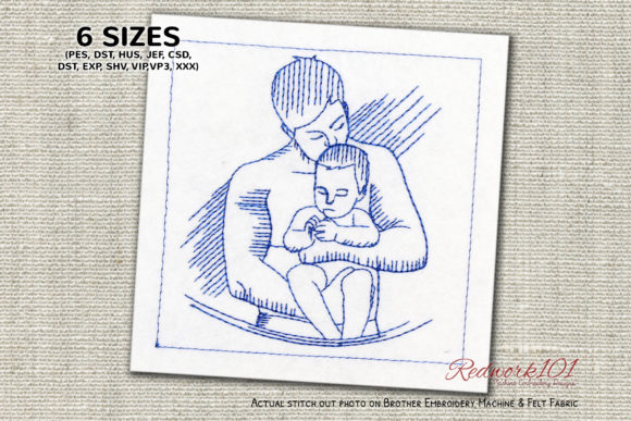 Boy and Father Machine Father's Day Embroidery Design By Redwork101