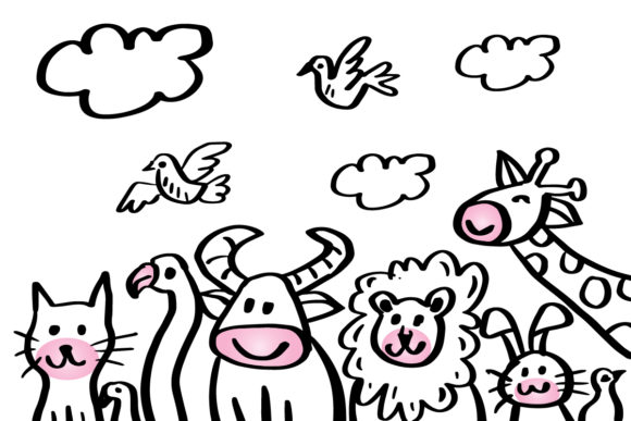Cartoon Illustration with Cute Animals Graphic Illustrations By han.dhini