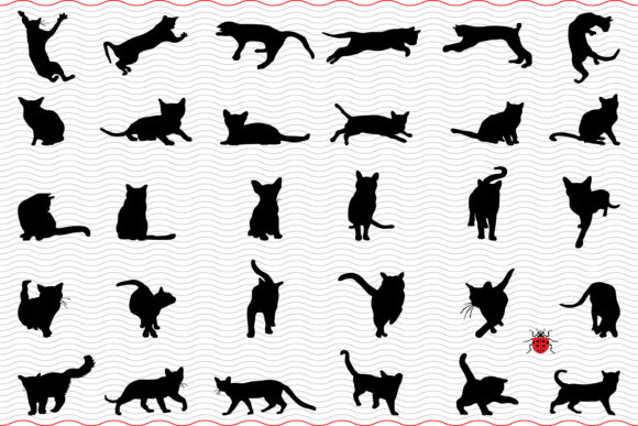 Cats, Black Silhouettes Digital Graphic Icons By SilhouetteDesigner