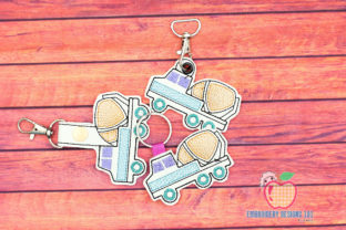 Cement Mixer Truck ITH Key Fob Pattern Transportation Embroidery Design By embroiderydesigns101