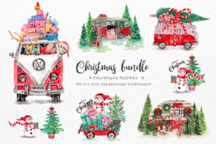 Print on Demand: Christmas Bundle with Vintage Van Graphic Crafts By Chonnieartwork