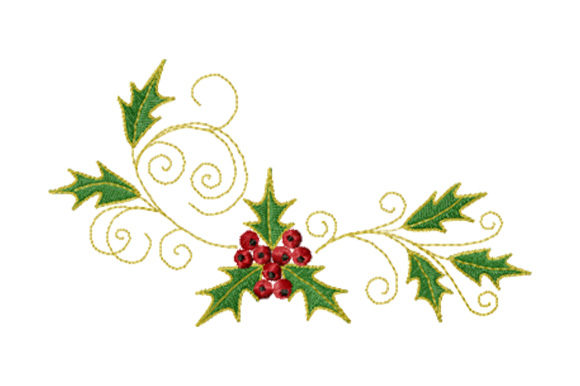 Print on Demand: Christmas Holly Ornament Christmas Embroidery Design By EmbArt