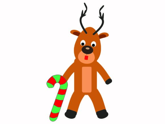 Christmas Reindeer Carrying a Stick Graphic Illustrations By Na Punya Studio