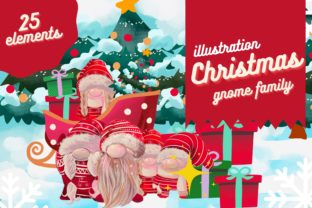 Print on Demand: Christmas Gnome Family Clip Art Set Graphic Illustrations By meisanmui