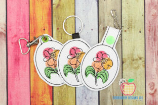 Colorful Flower Keyfob Keychain ITH Single Flowers & Plants Embroidery Design By embroiderydesigns101