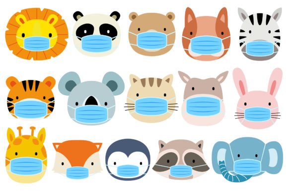 Cute Animals Wearing Face Mask Graphic Illustrations By medzcreative