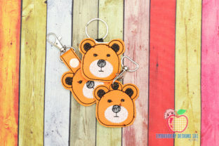 Cute Bear Face ITH Snaptab Keyfob Wild Animals Embroidery Design By embroiderydesigns101