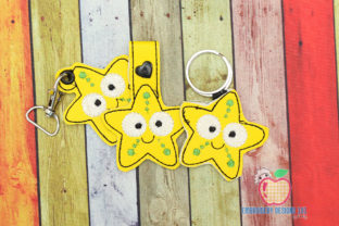 Cute Looking Starfish ITH KeyFob Snaptab Fish & Shells Embroidery Design By embroiderydesigns101
