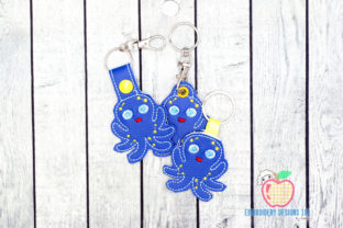 Cute Octopus ITH Keyfob Marine Mammals Embroidery Design By embroiderydesigns101