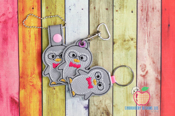 Cute Winter Penguin ITH KeyFob Snaptab Wild Animals Embroidery Design By embroiderydesigns101