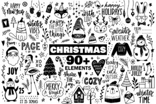 Doodle Christmas Set Graphic Objects By yana26789