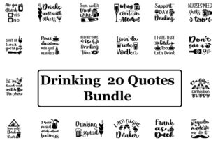 Print on Demand: Drinking  20 Quotes Bundle Graphic Print Templates By SVG_Huge