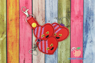 Emoticon Happy Heart ITH Key Fob Pattern Backgrounds Embroidery Design By embroiderydesigns101