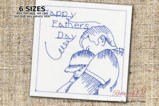 Father Holding Son Bluework Father's Day Embroidery Design By Redwork101