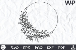 Floral Wreath SVG, Roses, Floral Frame Graphic Print Templates By wanchana365