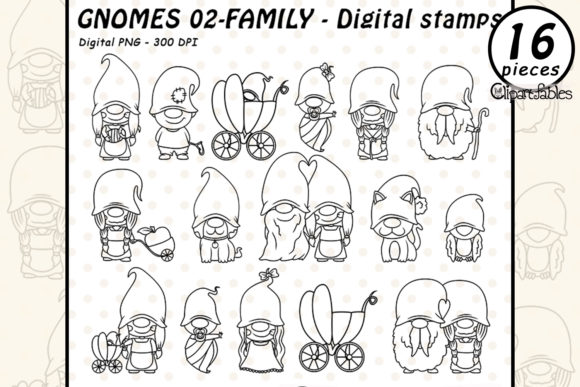GNOME FAMILY - Digital Stamps, Gnome Pet Graphic Illustrations By clipartfables